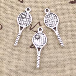Wholesale Tennis Racket Charm Necklace - Wholesale- 99Cents 12pcs Charms tennis racket 30*10mm Antique Making pendant fit,Vintage Tibetan Silver,DIY bracelet necklace