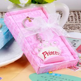 Wholesale Keychains Baby - 100pcs Pink Princess Blue Prince Crown Design Key Chains Bridal Wedding Baby Shower Favor Gifts Keychains Christmas Gift
