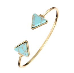 Wholesale Ladies White Gold Bangle - Simple Fashion Stone Bangles Lady Street Style Bangles Women Turquoise Cuff Bangles White Green Color Triangle Bangle