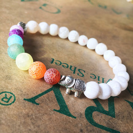 Wholesale China Yoga - New explosion elephant colorful yoga energy bracelet hand string weathering colorful agate Chakra 8MM wholesale Free Shipping