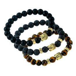 Wholesale Buddha Oil - New Handmade Lava-rock Bracelet Buddha Beads Natural Black Lava Stone Bracelets Aromatherapy Essential Oil Diffuser Jewelry A322