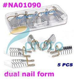 Wholesale Dual Forms For Nails - Freeshipping-5 pcs dual silver nail form for nail art making C curve DROPSHIPPING [retail] #NA01090
