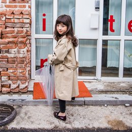 Wholesale Girls Wind Coat - Mother and dauther wind coat girls lapel overcoat long sleeve trench coat womens long outwear jackets long 2017 family autumn clothing T4980