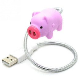 Wholesale Bank Animal - Mini Cute Pink Pig Portable Flexible USB LED Light Lamp Pig Design LED USB Gadgets for Power Bank for PC for Laptop Night Light