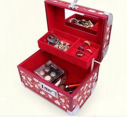 Wholesale Password Storage - heart Mirror case Jewelry box Red for wedding ceremony Storage box Bridal Makeup Box alloy Password lock 20*15*16cm