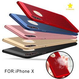 Wholesale Dot Net - Phone Case Heat Dissipation Mesh Net Phone Cover Full Cover Grid Hollow Out Dot Backcover for iPhone 8 Plus iPhone X 7plus 6splus