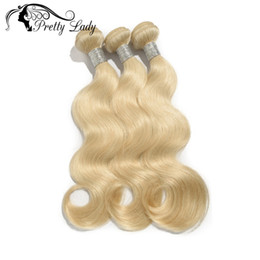 Wholesale Pretty Virgins - Wholesale-Pretty Lady Hair Products Bleached Blonde Color #613 Platinum Blonde Body Wave Brazilian Virgin Human Hair extensions 3pcs lot