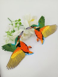 Wholesale Diy Accessory Applique Iron Badge - 1Pair of Embroidered Bird Patches for Clothing Iron Sewing Applique Clothes Badge Stickers Jeans Jacket Decoration DIY Patches