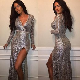 Wholesale Cheap Sexy Bling Dresses - Bling Bling Sparkly Sequins with High Slit Mermaid Evening Dresses Long Sleeve V-neck Cheap Prom Dress Robe de soiree Abendkleider