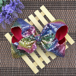 Wholesale Hair Bling Girls - NEW 12 Colors Option Rainbow Sequin Hair Bow Barrettes Bling bows Hair Clip Baby Girl Rainbow Bestie Jojo Bows Hair Accessories Clips A7141