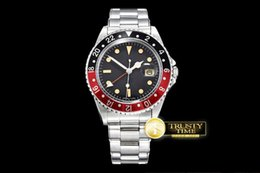 Wholesale Men Mechanical Watches Vintage - AAA Factory Factory Best Edition R-GMT Ref.1675 Vintage Automatic movement Sapphire Crystal men watch Classic Clasp red black Bezel