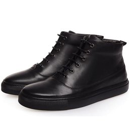 Wholesale High Fashion Dress Men Boots - 2017 Luxury brand genuine leather men black ankle boots male elegant cowskin flat shoes high top business dress boots Martin boots