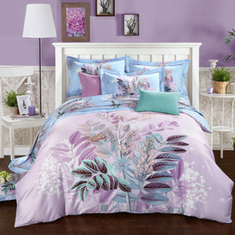 Wholesale Duvet Cover Sets City - 40*40 144*76 reactive print bed sheet bed linen four pieces bedding set 100% cotton fabric,thigher thread count blue color warm city
