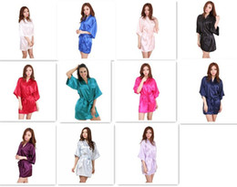 Wholesale Wholesale Womens Sexy Dresses - 40pcs 11 colors Ladies womens Solid plain rayon silk short Robe Pajama Lingerie Nightdress Kimono Gown pjs Women Dress elegant M010