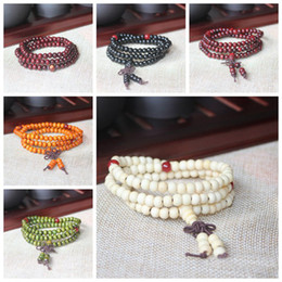 Wholesale Bead Ropes - Natural Sandalwood Buddhist Buddha Meditation 6mm 108 Beads Wood Prayer Bead Mala Bracelet With Bowknot Charm Stretchable Jewelry