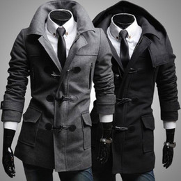 Wholesale Mens Wool Collar Jacket - Wholesale- New 2016 Winter Mens Designer Clothing Cashmere Thick Trench Coat Wool Jacket Warm Windbreaker Men Overcoat Casacos DFBTC005
