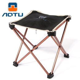 Wholesale Wholesale Foldable Chair - AOTU New Aluminium Alloy Outdoor Foldable Folding Fishing Picnic BBQ Garden Chair Tool Square Camping Stool 163