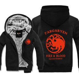 Wholesale Turtleneck Cardigan - House Targaryen Printing Game of Thrones Thickness Hoodies Adult Baseball Sweatshirts men Winter Jacket Coat M-3XL Big size