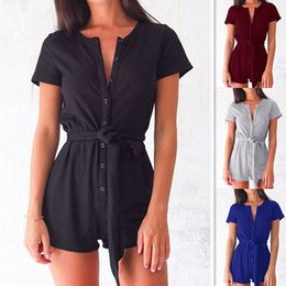 Wholesale womens gray jumpsuits - Body Rompers Womens Jumpsuit Sexy Macacao Feminino Playsuits Short Buttons Plus Size Girls Playsuits Women Overalls Belts