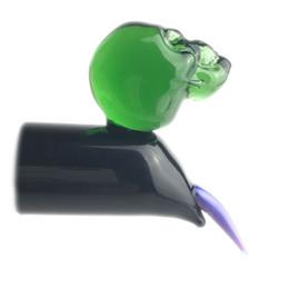 Dedos gafas online-Glass Carb Cap Dabber herramientas de Dab Cera de aceite para fumar Colorido Pyrex Glass Finger Nail Skull Dabs Tool para Banger Nails