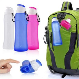Wholesale Travel Plastic Cups Camping - 500ML Creative Collapsible Foldable Silicone drink Sport Water Bottle cup Camping Travel my plastic bicycle bottle b745