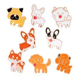 Wholesale Cute Cartoon Lovers - 8 Pcs Set Cartoon Emamel Pin Set Cute Dog Cat Poodle Teddy Husky Lapel Badge Brooch Pet Lover Children Jewelry