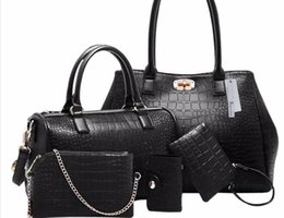 Wholesale Leather Body Pieces - Brands High Quality Stone Pattern PU Leather Luxury Handbags Women's Designer Black Composite Bags 5 Pieces Sets Bolsas Feminina