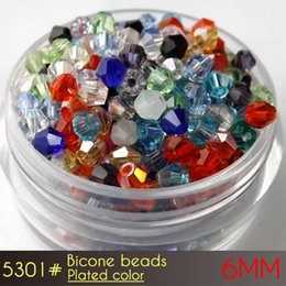 Wholesale Crystal Glass Beads 6mm - reflective glass crystal czech beads Bicone Beads 6mm Plating Colors A5301 50pcs set wholesale price with top quality