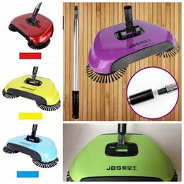 Wholesale Mop Cleaners - Super Cordless Swivel Brush Smart Floor Cleaner Rotating Hand-Push Dual Sweeper Manual Dust Cleaner 3 in1 Dustpan Broom Mop CCA6348 36pcs