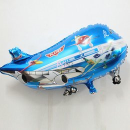 Wholesale Helicopter Party Decorations - 15pcs lot plane mylar balloon helicopter inflatable toys child foil helium plane balloons party decoration big airliner balloons
