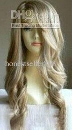 Wholesale Cheap Human Hair Blonde Wigs - Wholesale cheap Stylish long blonde wavy human made hair wig wigs
