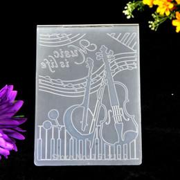 Wholesale Music Folders - Wholesale- Music is life Guitar Music note Plastic Embossing Folder For Scrapbook DIY Album Card Tool Plastic Template 10.5x14.5cm KW680658