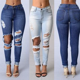 Wholesale Womens Plus Size Skinny Jeans - New Design Plus Size Fashion Trousers Womens Ladies Celeb Stretch Ripped Skinny High Waist Denim Pants Jeans Free Shipping CL253
