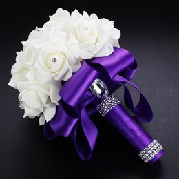 Wholesale Artificial Foam Roses - 2017 Purple Wedding Flowers In Stock Crystal Artificial Wedding Bouquets Multicolor Ribbons Rose Flower Bouquets For Bride Accessories