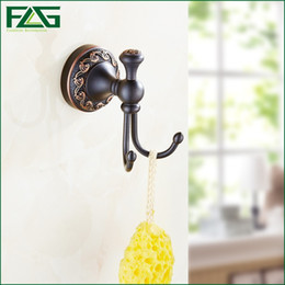 Wholesale Construction Hardware - FLG Dual Robe Hook Clothes Hook Solid Brass Construction Oil Rubbed Bronze Black Bath Hardware Accessory Home Decoration 91301B