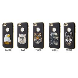 Wholesale Tiger Leather Case - Hot selling PU Leather Embroidery Cell Phone Case Cartoon Tiger Wolf Painting Mobile Phone Case For Iphone 7 6s Plus For Samsung S8 S8plus