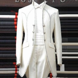 Wholesale casual dress pants for men - white wedding groom suit male commercial suits casual slim costume male set formal dress for singer dancer party show bar