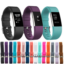 Wholesale Big Wristbands - Factory Offer Fitbit Charge 2 Buckled Soft Sport Classic Silicone Strap For Fitbit Charge 2 Replacement Wristband Mix Color Big Order