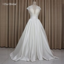 Wholesale Big Satin Skirts - High Quality Satin Wedding Dresses with Lace Keyhole Back Short Cap Sleeve Big Volume Skirt Factory Real Photo Custom Make