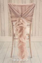 cadeira de casamento de cetim cobre rosa Desconto Custom Made 2017 Blush Rosa Babados Cadeira Cobre Cadeira Do Vintage Romântico Caixilhos Bela Moda Decorações De Casamento 02
