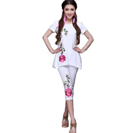 Wholesale Chinese Style Suits Women - Embroidery T Shirts Pants Set Spring Chinese Style Two Piece Sets Summer Vintage Black White Blusas Feminina Tops Cotton Women Suit