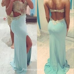 Wholesale Dresses Chifon - Sexy Mint Green Prom Dress Chifon Slit Beaded Long Women Wear Special Occasion Party Dress Custom Made Plus Size