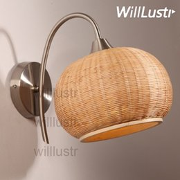 bedroom materials Promo Codes - Willlustr Handmade Bamboo Wall Lamp Natural Material Doorway Foyer Porch Loft Hotel Cafe Bedside Bedroom Japan Style Country Light Sconce
