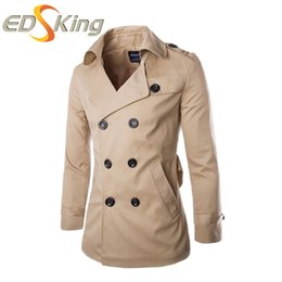 Wholesale Mens Slim Fit Down Coat - Wholesale- New 2016 Men Trench Coat Solid Turn-down Collar Double Breasted Fashion Slim Fit Casual Outerwear Mens Trench Coats 3 Color