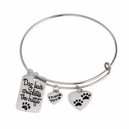 """Wholesale Wholesale Heart Shaped Gift Tags - New Lovely Paw Bracelets """"Dog Hair Completes the Outfit"""" Dog Tag Heart Shape Charm Bangle Pet Lover Jewlry free shipping"""