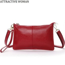 Wholesale Leather Plain Clutch Wholesale - Wholesale- Bolsas Femininas Small Shoulder Bags Genuine Leather Female bag for Ladies Purse Women Crossbody Bags Handbag 2017 New Clutch