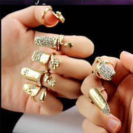 Wholesale Nail Butterfly Gold - 7 Designs New Nightclub Girl Punk Gold Plated Crystals Metal Butterfly Heart Nail Rings Set=7 Rings