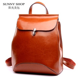 Wholesale Best School Bags For Girls - SUNNY SHOP Japan and Korean Style Genuine Leather Women Backpack Vintage School Backpack For Girls Brand Designer Bags Best Gift