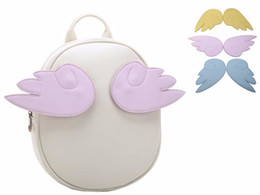 Wholesale sakura cards - Wholesale- Japan Card Captor Sakura Bag Cartoon Anime Lolita PU Leather Bag Backpack With three colors Wing For Girls Angel