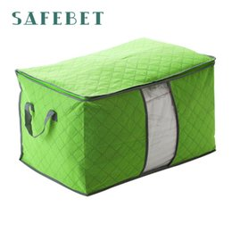 Wholesale Charcoal Quilt - Wholesale- drop shipping Bamboo charcoal clothing storage bag Quilt storage case Bedding organizer Non-wooven bag Sep19